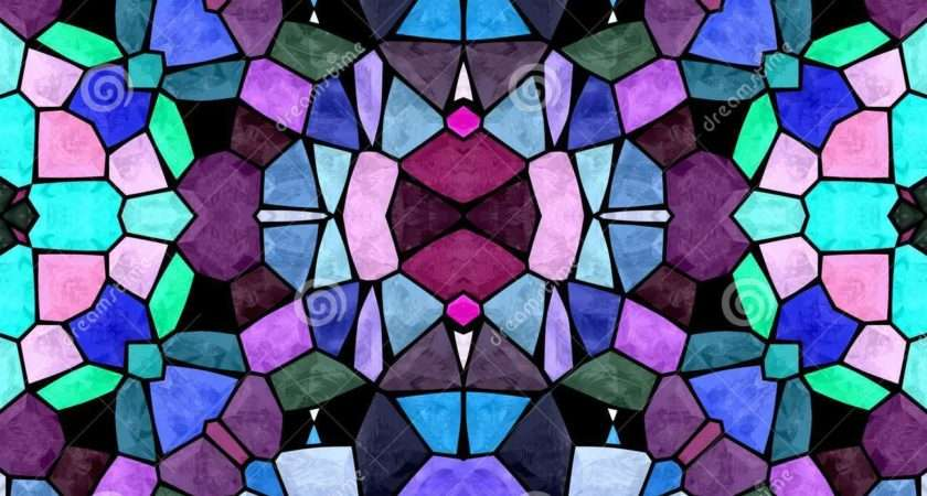 Abstract Stained Glass Mosaic Pink Purple