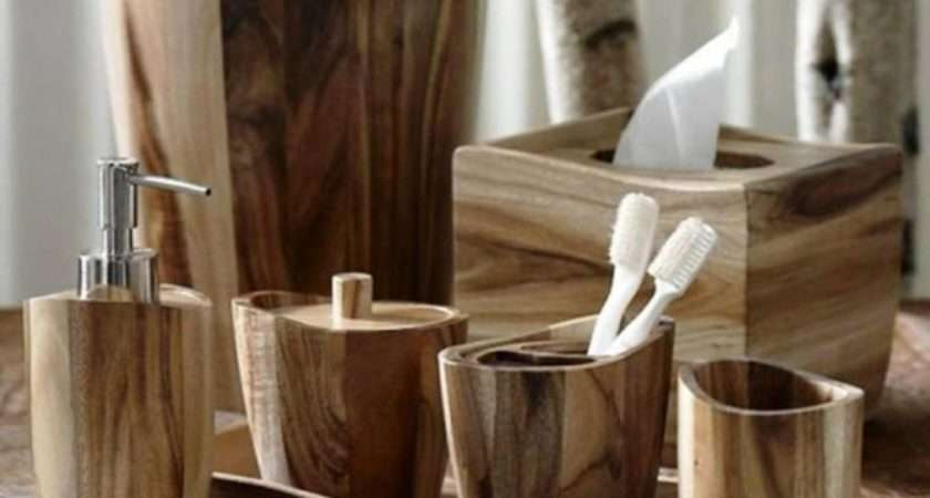 Acacia Wood Bath Accessories Kassatex Rustic
