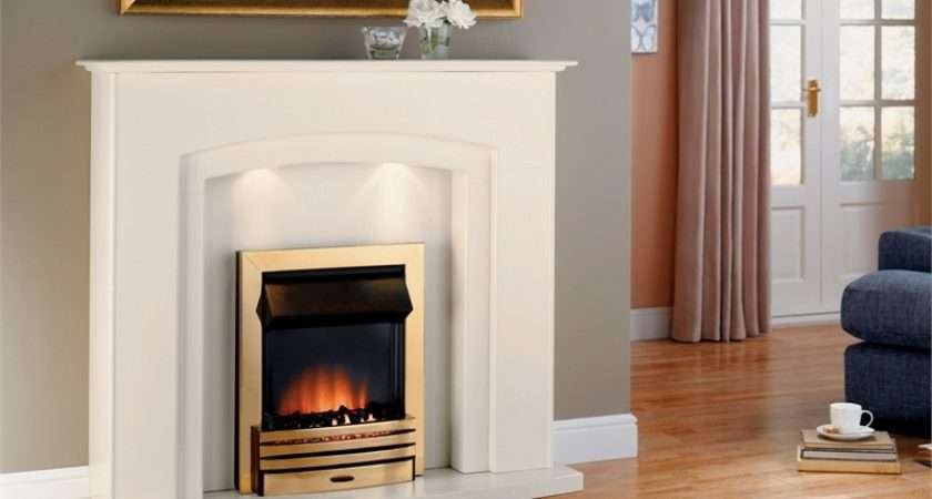 Adam Falmouth Electric Fireplace Suite Brass Fire