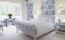 All Over Floral China Blue Adorns Walls Upholstered