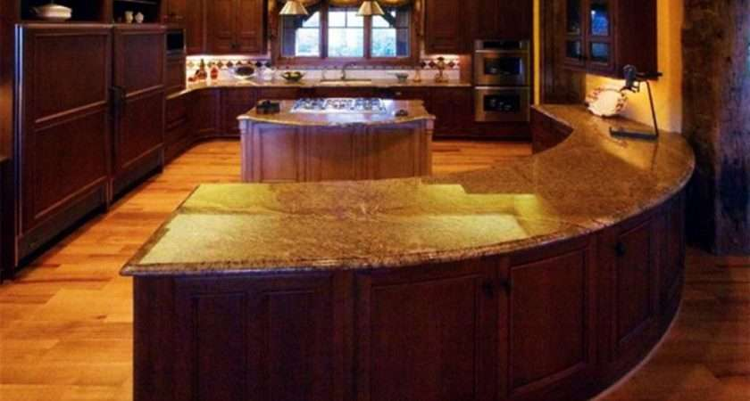 Amazing Incridible Brown Wooden Curved Kitchen Island
