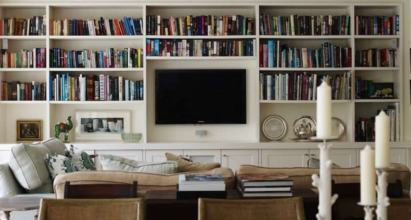 Amazing Living Room Wall Floor Ceiling Built Bookcases