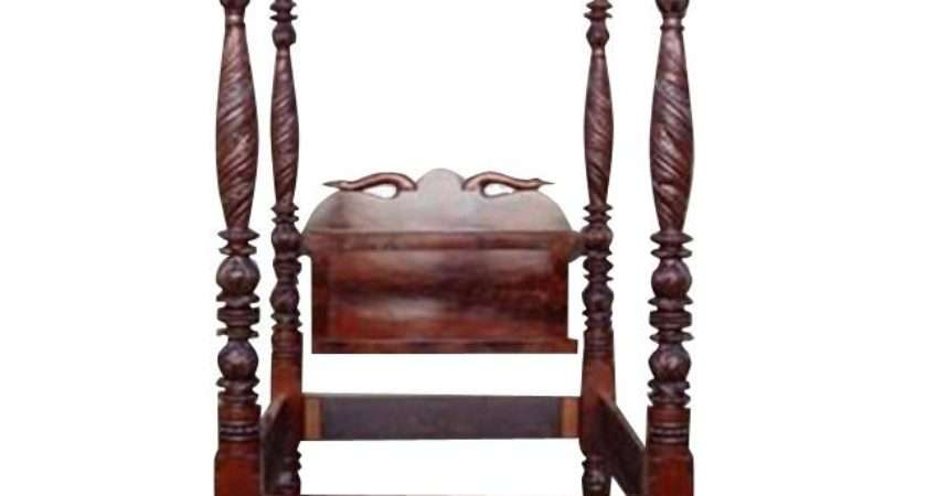 American Mahogany Classical Acanthus Carved Four Poster