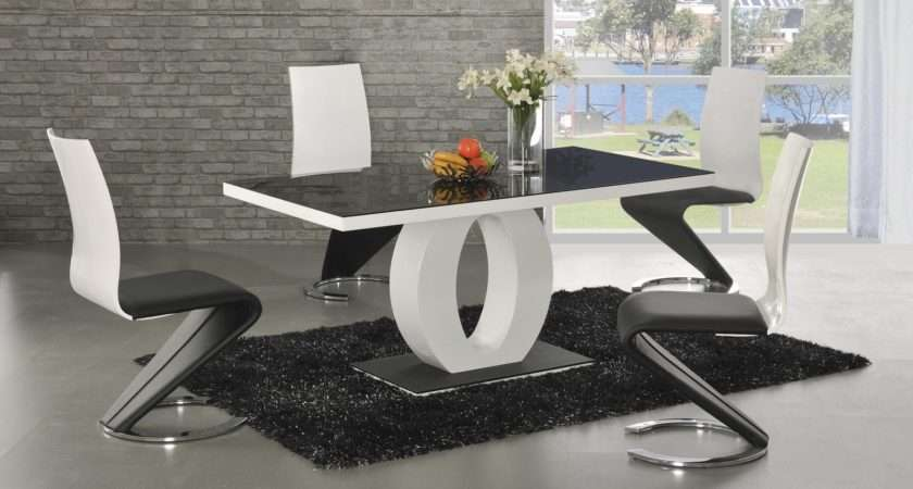 Angel Black Glass White Gloss Designer Dining