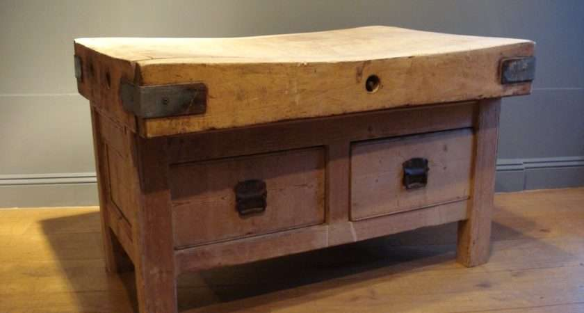 Antique Butcher Block French Dining Table Storage