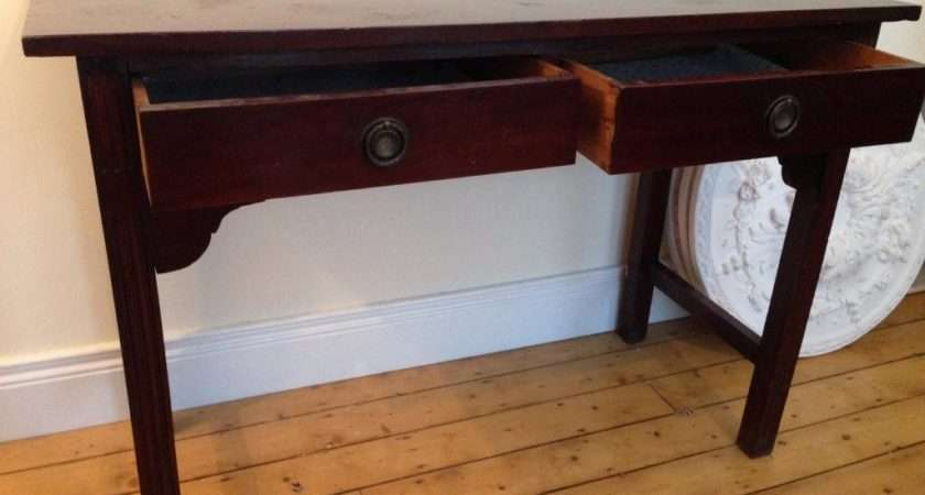 Antique Dark Wood Console Table Two Storage Drawers