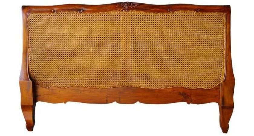 Antique French Louis Rattan Headboard Working Well