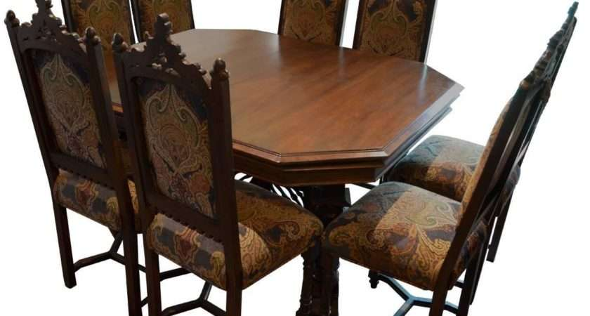 Antique Gothic Style Dining Table Eight Chairs
