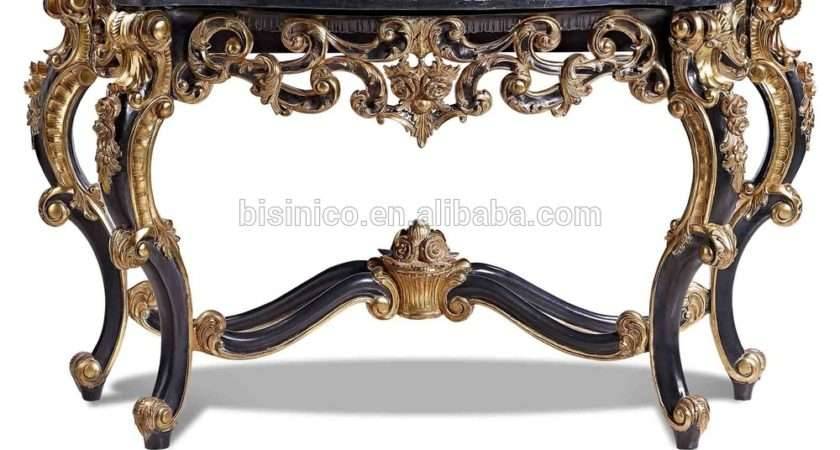 Antique Luxury Console Table Hall Foyer Marble Top