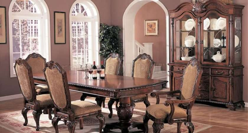 Antique Style Brown Elegant Dining Room Extendible Table Crds