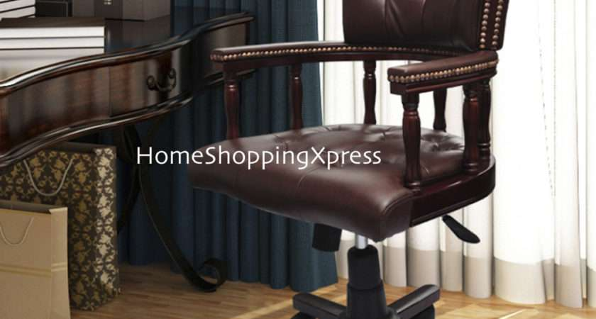 Antique Style Office Chair Chesterfield Solid Wood