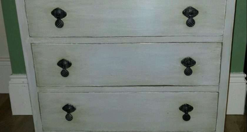 Antique Vintage Shabby Chic Chest Drawers Painted Grey Waxed