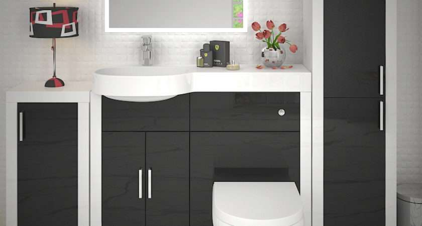 Apollo Bathroom Fitted Furniture Set Black Buy