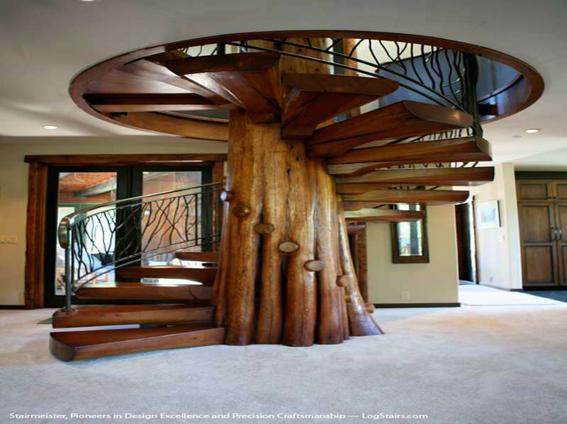 Appealing Digital Imagery Above Section Wooden Stairs