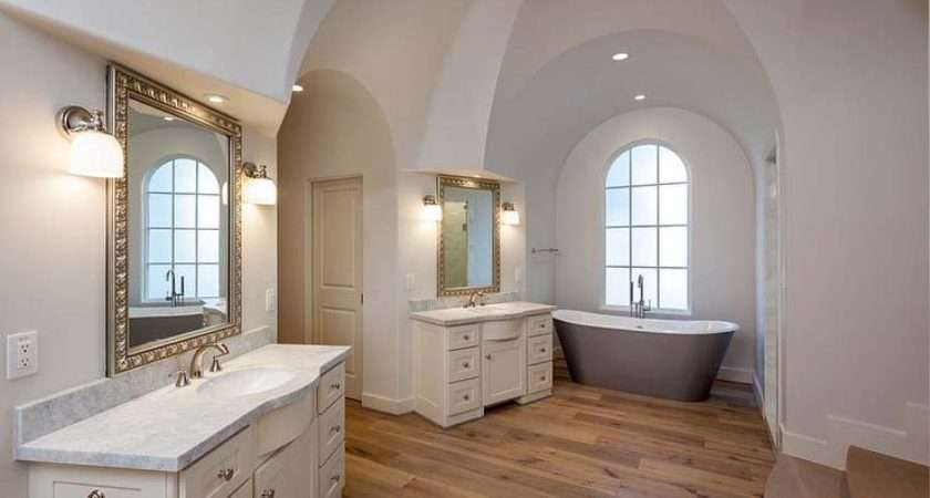 Arched Alcove Gray Cast Iron Tub