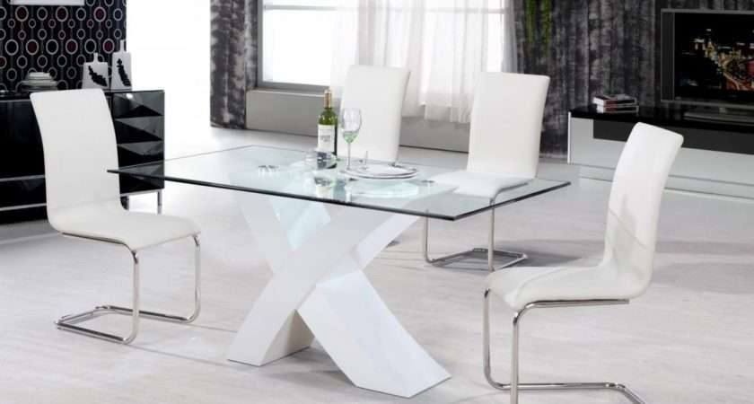 Arizona High Gloss White Dining Table Clear Glass Chairs