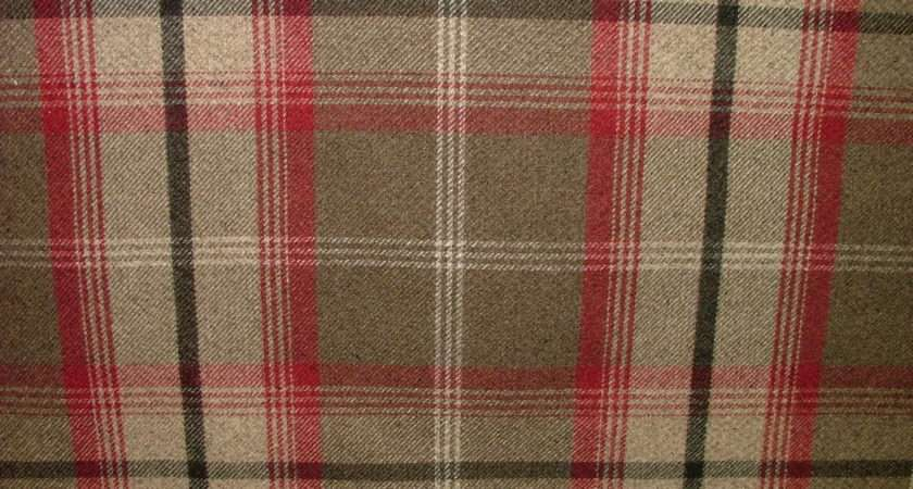 Balmoral Rosso Wool Effect Washable Thick Tartan Curtain