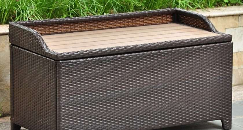 Barcelona Outdoor Storage Trunk Bench Chocolate Wicker