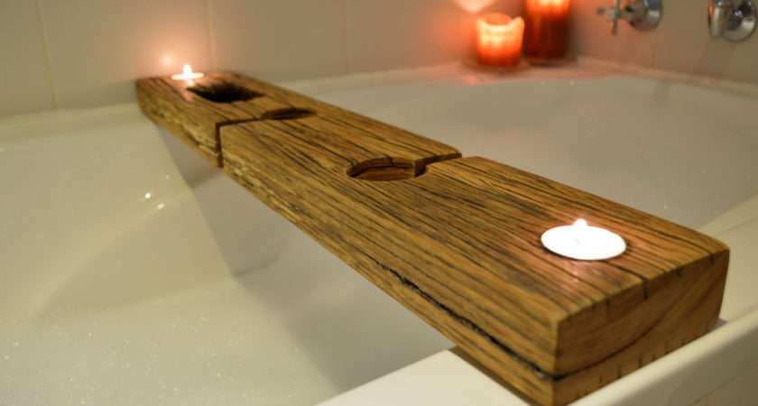 Bath Caddy Tray Recycled Wood Copper Whothedickens