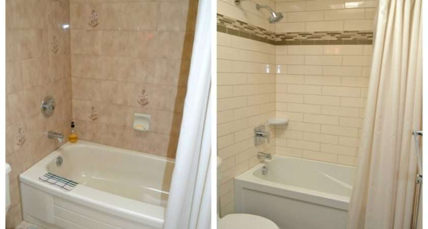 Bathroom Before After Cream Subway Tile Brown