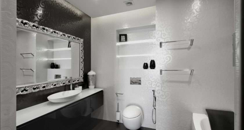 Bathroom Black White Tiles Engraved Swirling