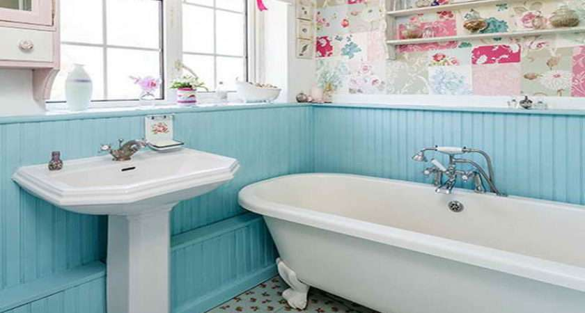 Bathroom Country Ideas Blue Wood Panel