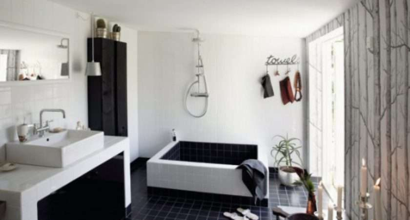 Bathroom Design Bathtub Black White