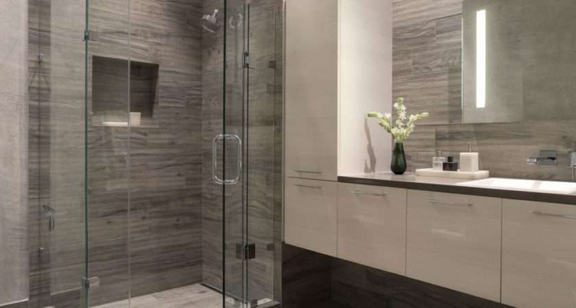 Bathroom San Francisco Gray White Glass Enclosed Shower
