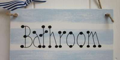 Bathroom Sign Plaque Seaside Nautical Gift Chic Shabby Vintage Ebay