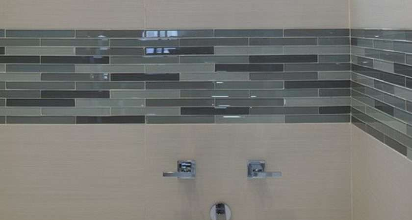 Bathroom White Subway Tile Shower Stall Glass Mosaic