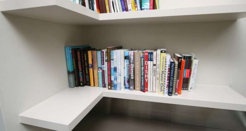 Beautiful Pure White Shaped Floating Corner Book Shelves Two Level