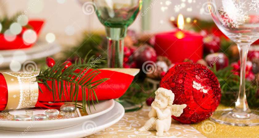 Beautifully Set Table Red Gold Christmas Eve