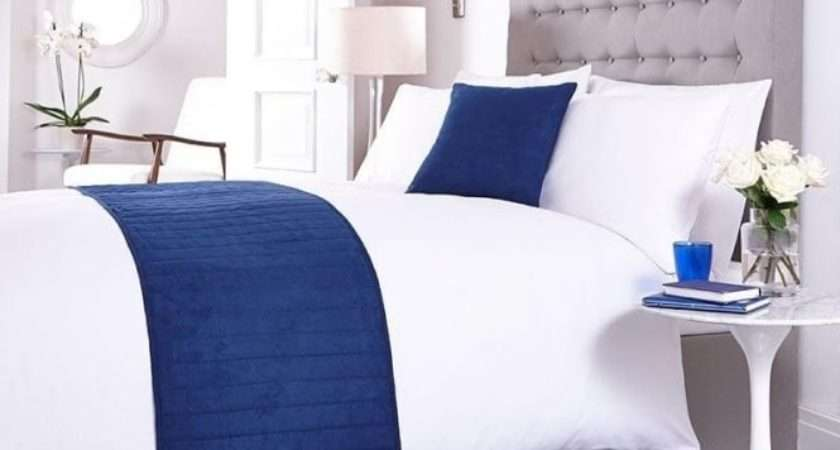Bed Runner Matching Cushion Cover Navy Blue