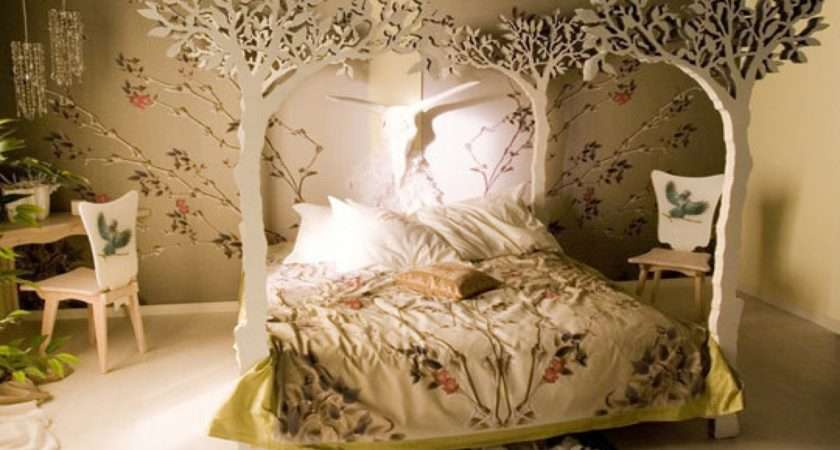Bed Wall Design Woodland Bedroom Decor Forest Themed
