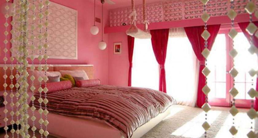 Bedroom Girly Pink Decoration Ideas Decorate