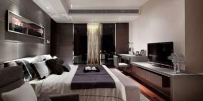 Bedroom Luxury Design Combined Modern Television
