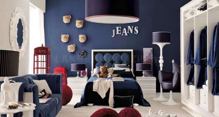 Bedroom Red White Blue Denim Themed Boys Ideas