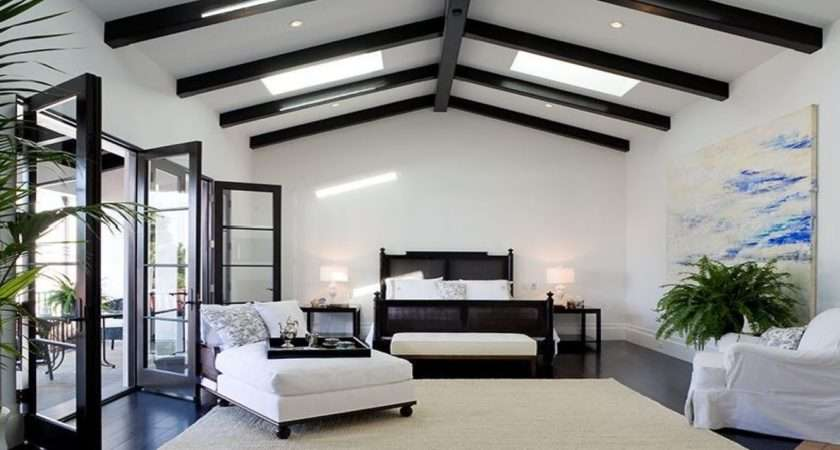 Bedroom Spanish Revival Home Exposed Painted