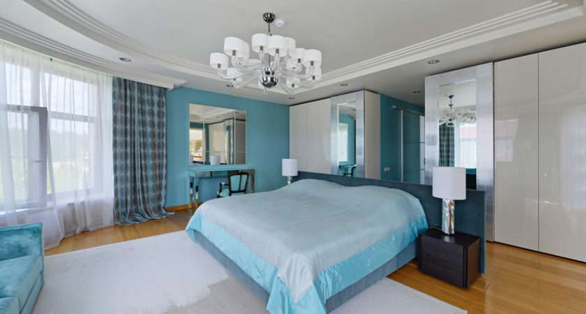 Bedroom Uses Refreshing Combination Whites Sky Blue