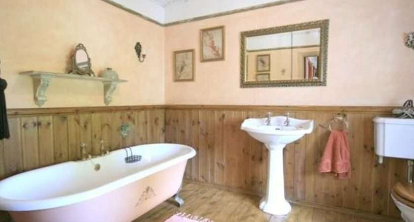Beige Bathroom Bath Feet Traditional Freestanding Wood Panelling