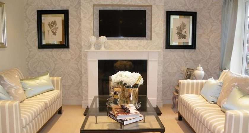 Beige Living Room Lounge Feature Wall Coffee Table