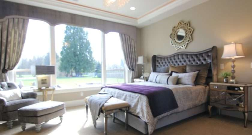 Beige Purple Bedroom Home Design