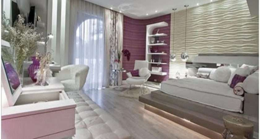 Beige Purple Bedroom Living Room