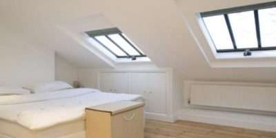 Beige White Bedroom Loft Conversion Gabled Ceiling