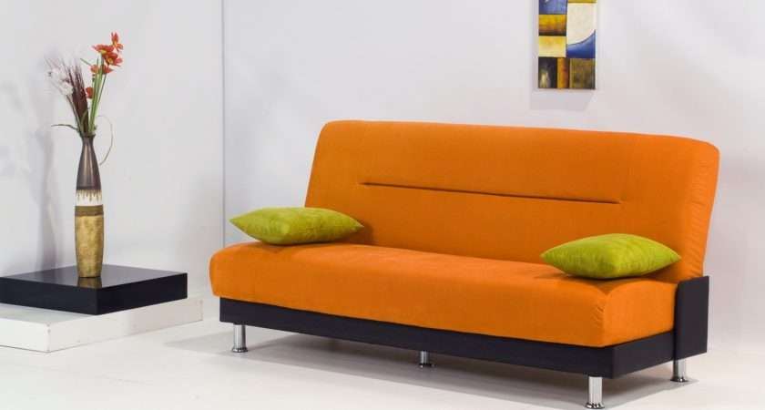 Best Modern Sleeper Sofa Orange Fabric Cover Black Base