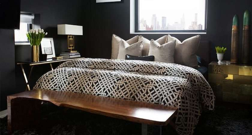 Black Bedrooms Gold Accents Contemporary Bedroom