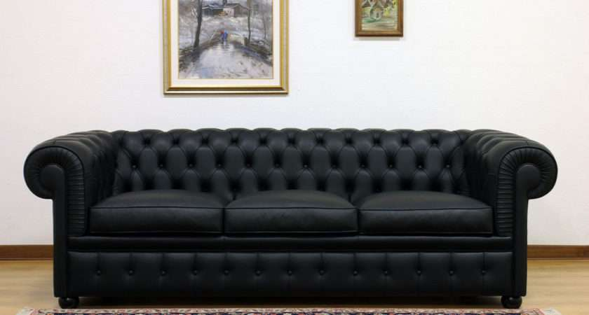 Black Chesterfield Sofa Paxton Leather