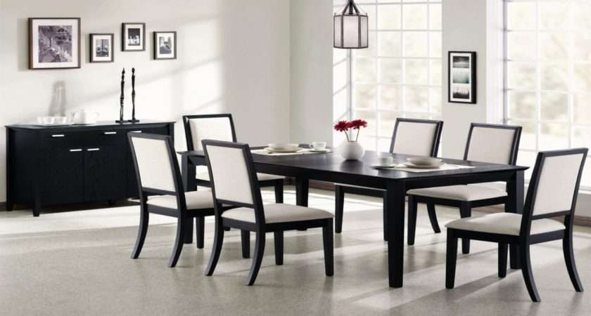 Black Dining Table Set Room Chairs