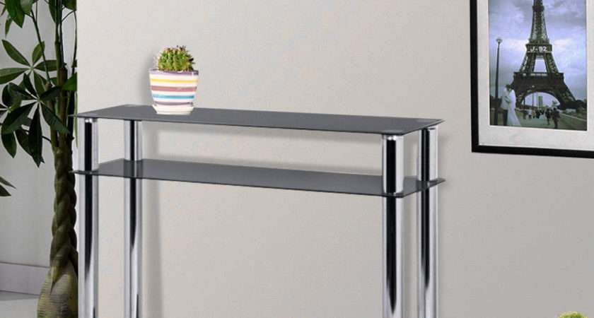 Black Glass Chrome Console Table Large Hall Modern