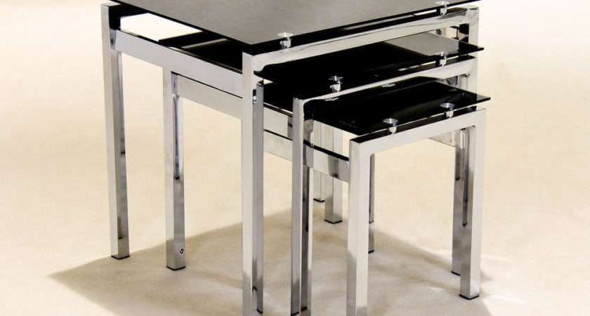 Black Glass Chrome Nest Tables Lamp Side End Coffee Table